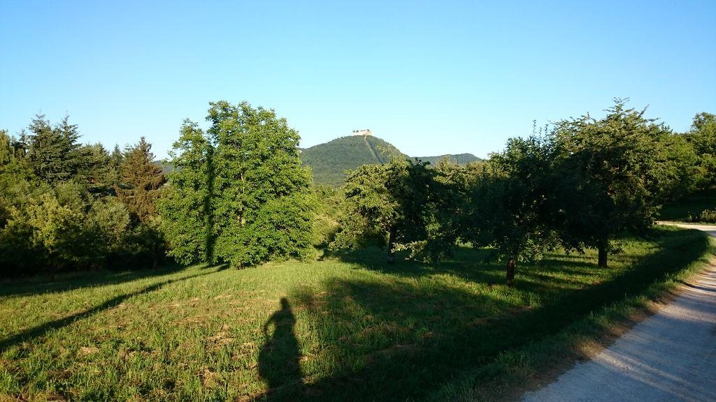 Lange Schatten vor Burg Hohenneuffen